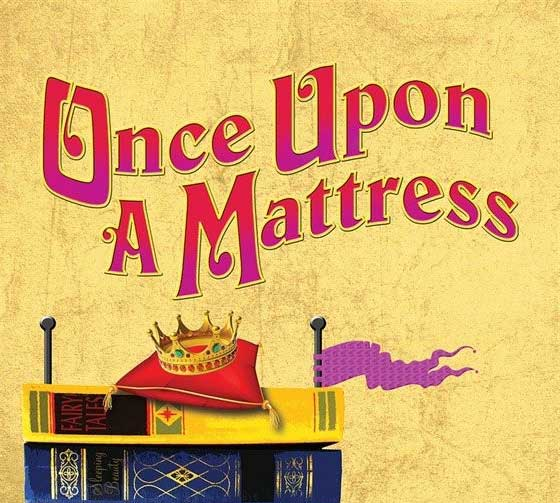 Once upon a mattress logo with stack of books and crown on top